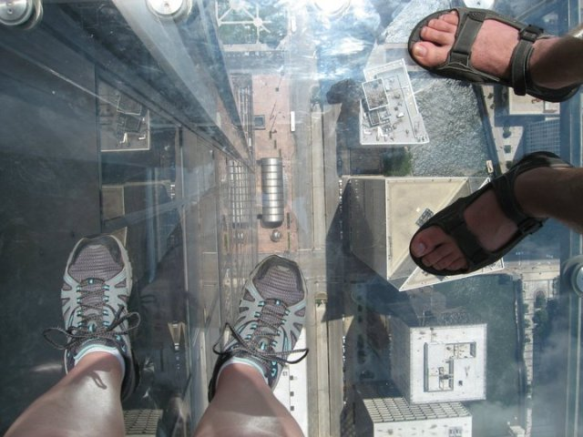 Standing on the Skydeck at the Willis Tower