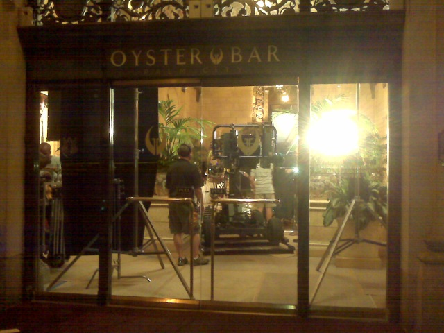 NBC tv series being shot by the restaurant