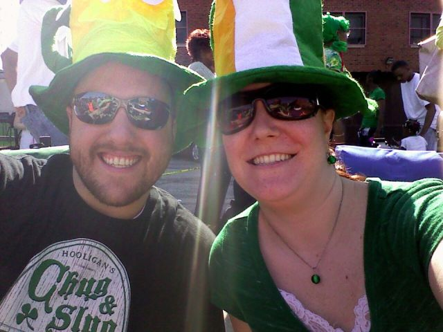 Brian and I decked out at the Cleveland St. Patty's Day parade