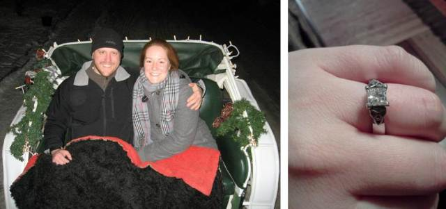 My beautiful, meaningful ring and the most wonderful carriage ride as I tried desperately to come down from my happiness high enough to speak
