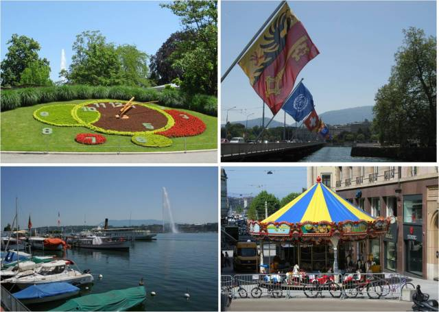 Walking around by the waterfront in the sunshine to see the UN flags, flower clock and lake