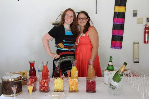 The bestie manning the fresh fruit mimosa bar--delicious and a HUGE hit!