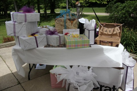 The crazy pile of gifts, some with map paper, some in little 'trunks' and then a pretty trunk with homemade 'card' label for the cards, which we will also use at the wedding!