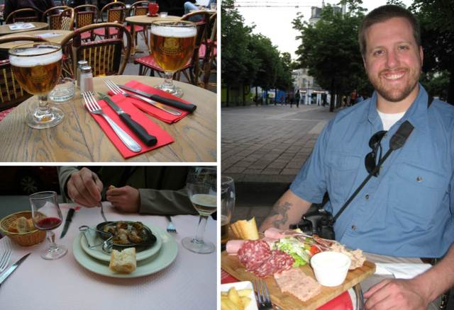 We had some amazing food throughout out stop--here is a sampling of charcuterie, beverages and escargot!