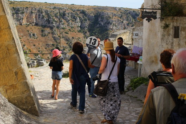 Walking down the streets of Matera to see the Sassi Caves