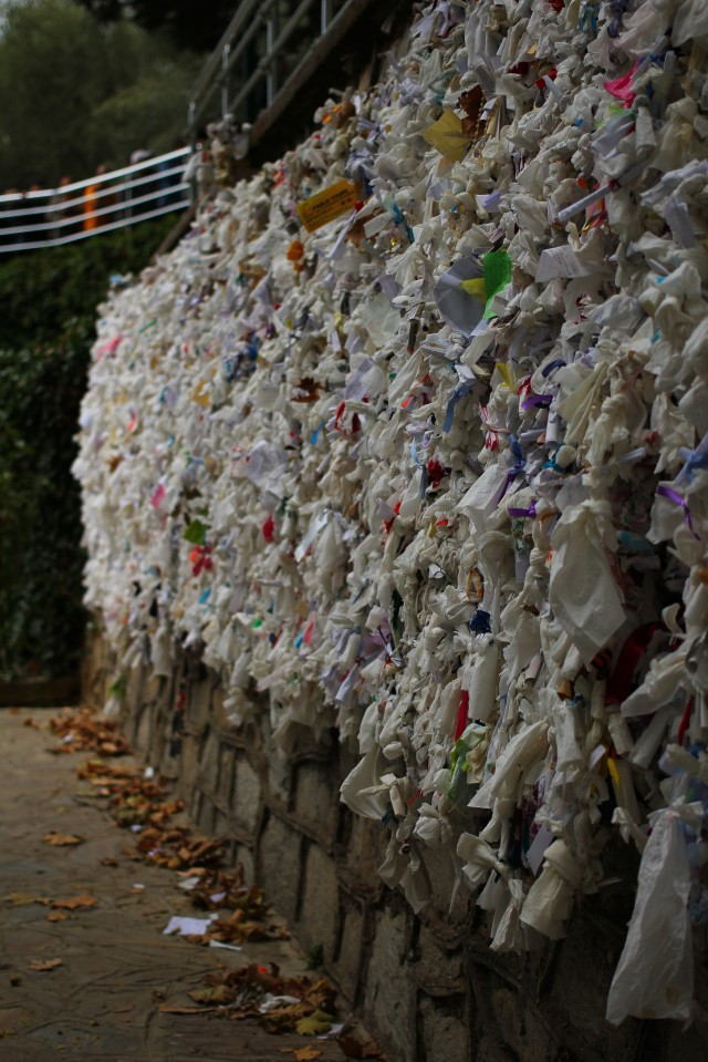 The Wishing Wall, filled with bits of papers in all kinds of languages with prayers to Mary