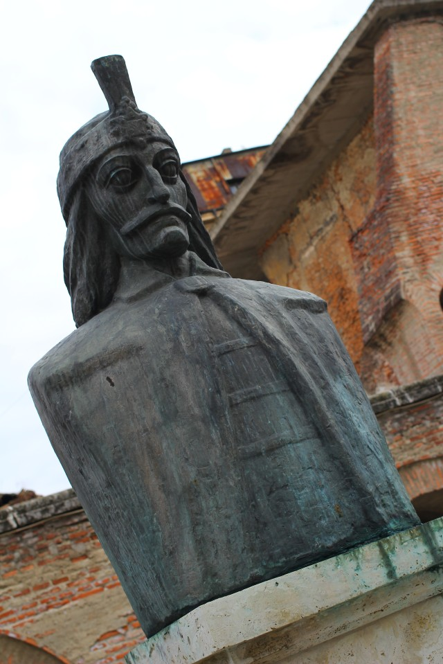 Vlad Tepes, or Vlad the Impaler, outside the ruins of his station in Bucharest, which we got to explore on three levels