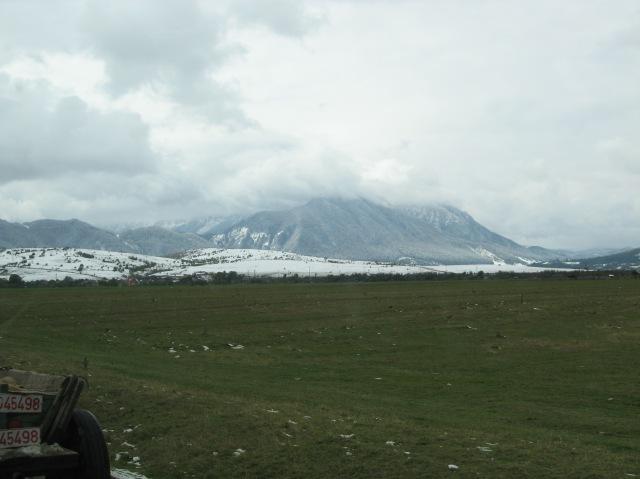View of the mountains via mini-van!