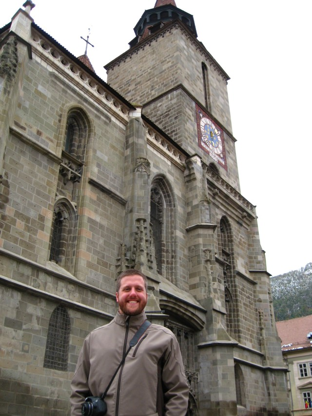My husband in front of the Black Church, which didn't allow photos inside