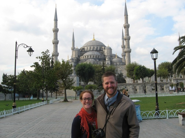 Honeymooning in front of the Blue Mosque