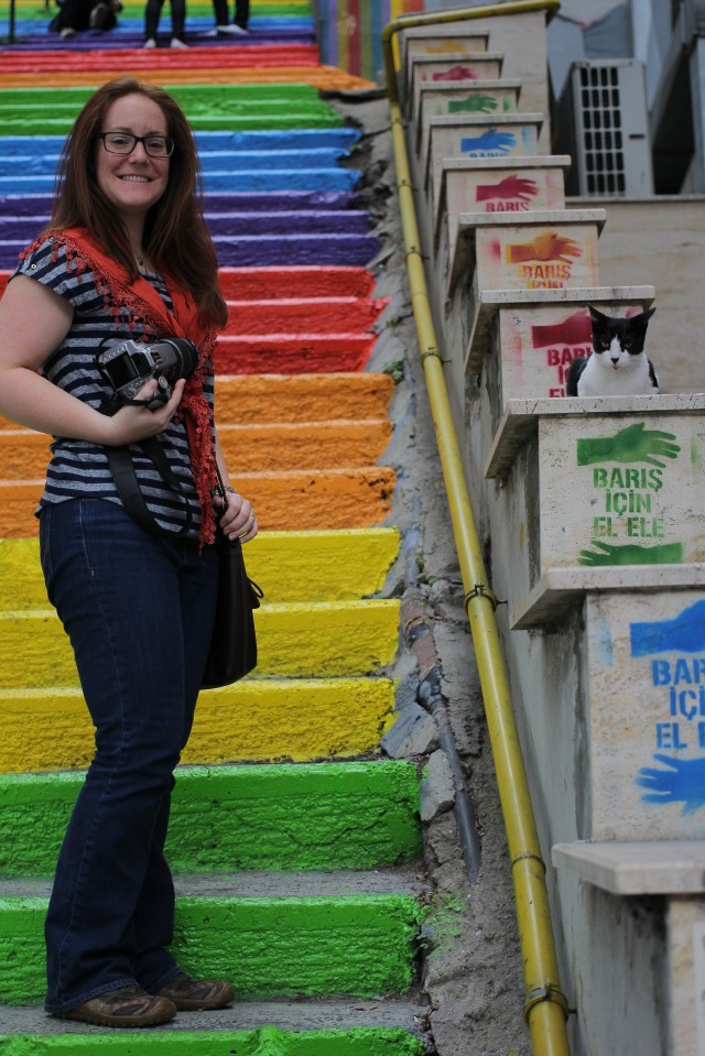 My and one of the many friendly cats on beautifully chalked stairs