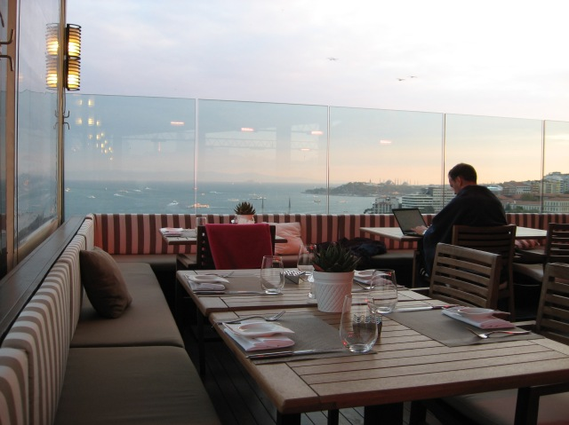 First night's dinner from the rooftop overlooking the Bosphorus and Asia