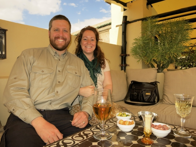 Enjoying a mid-afternoon break on the rooftop patio of our riad in Fes