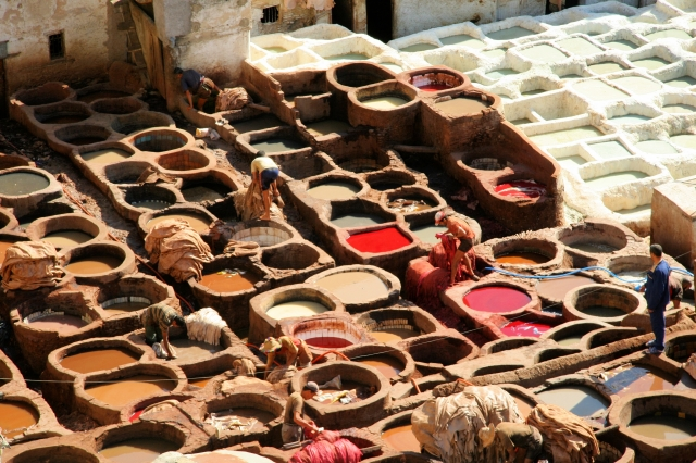 The tanneries in Fes from the comfort of a shop overlooking the UNESCO site