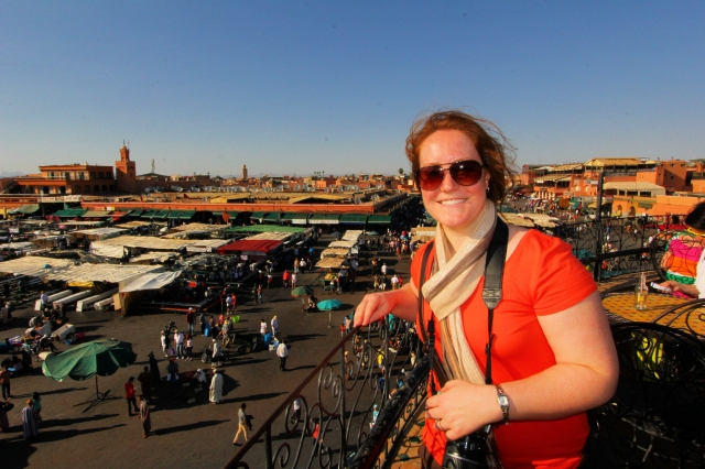 Looking out on the main square in Marrakech from the safety of a rooftop patio