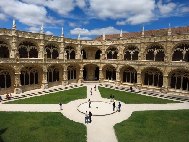 The courtyard inside the monestary with incredible architecture and lots of tourists!