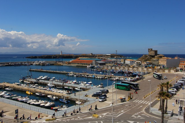 Our view of the port from the top of the castle walls. We could see the hilly city and the sea.